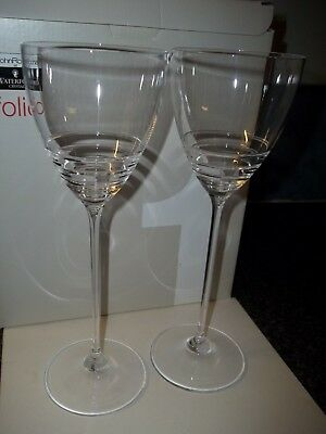 "WONDERFUL Waterford Crystal JOHN ROCHA ""FOLIO 1"" SET 2 RED WINE GLASSES 10.25"""