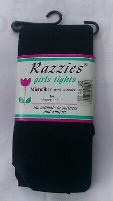 Razzies Black Microfiber Girls Spandex Tights Size 7-14 Large 9-11 Years...