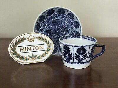 Antique Minton CHINA ASTER Blue Aesthetic Flat Cup & Saucer Set (B)