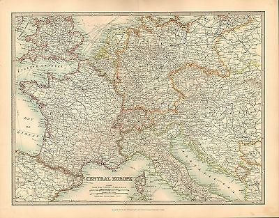 1911 Large Victorian Map ~ Central Europe ~ France Switzerland Austria-Hungary
