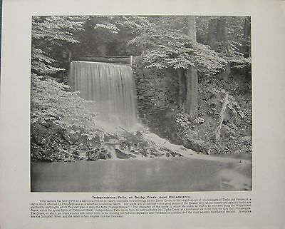 1898 PRINT + TEXT ~ INDEPENDENCE FALLS ON DARBY CREEK near PHILADELPHIA