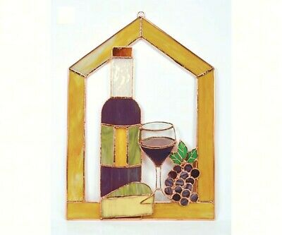 Stained Glass - Large Wine with Cheese and Grapes Steeple Window Panel- - GE133