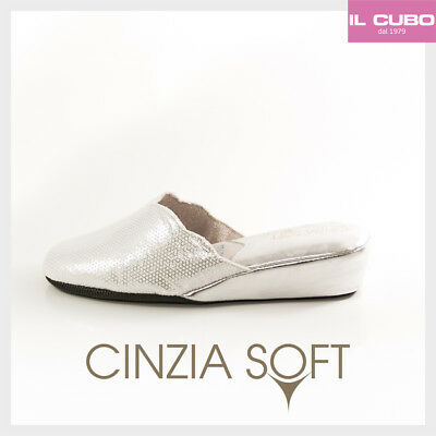 Cinzia Soft Pantofola Donna Colore Argento Zeppa  H 4 Cm Made In Italy
