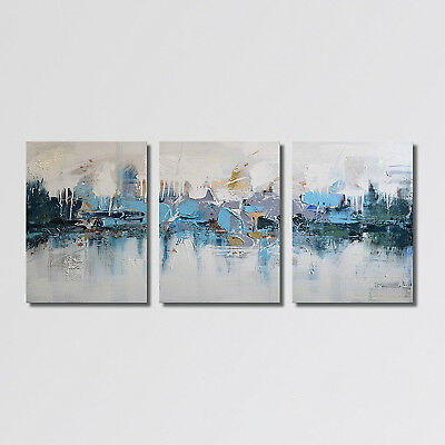 3PCS Large Modern Abstract HandPainted Oil Painting Home Decor Wall Canvas Art