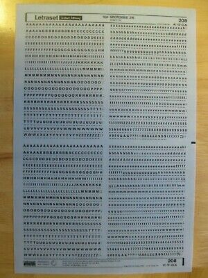 1 x Letraset Upper & Lower Case + Numbers  12pt Grotesque 216  Sheet 208 *