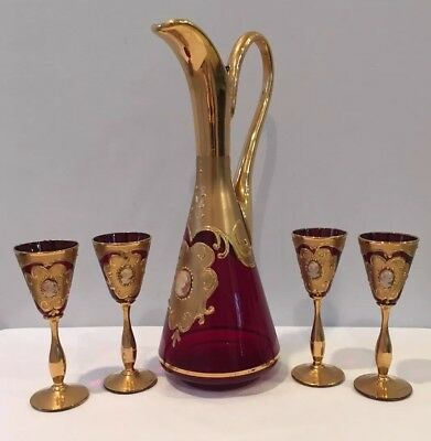 Rare Antique Decanter & 5 Cordial Stems Ruby Glass Cameos On Heavy Gilt Italy