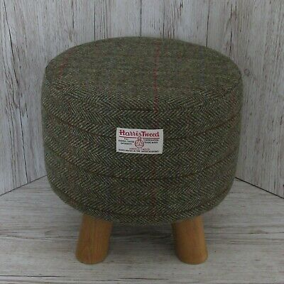 Harris Tweed Green & Fawn Herringbone Footstool Stool Hand Covered in the UK