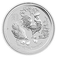 Lot of 10 x 2 oz 2017 Perth Mint Lunar Year of the Rooster Silver Coin