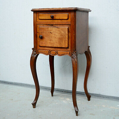 Antique French Country Louis Pot Cupboard / Bedside Cabinet with Marble Top