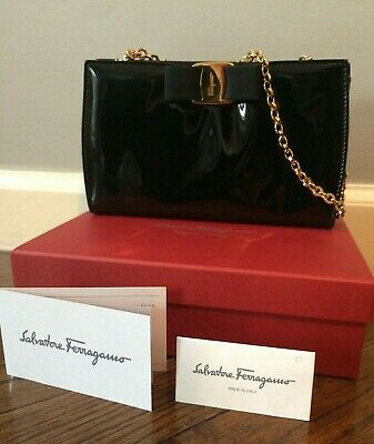 dbbf0f46eb4a Salvatore Ferragamo Nero black patent leather Vera evening clutch bag gold  chain