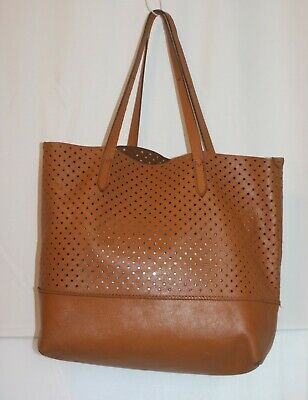 J Crew Brown Tan Leather Tote Bag Holes Soft