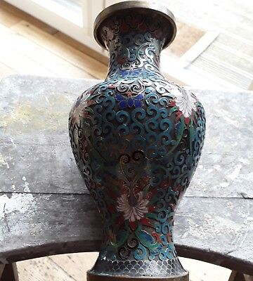 Antique Cloisonne Open Work Enamel Vase
