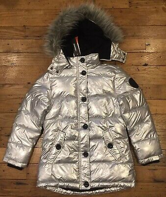 0a849ad35 NWT DIESEL KIDS Girl's Junior Faux Fur Silver Insulated Coat Winter Jacket  14