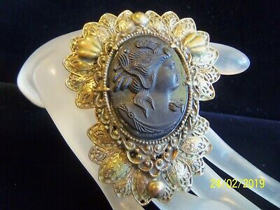 Antique Victorian Large Brass Black Lady Cameo Mourning Fur Clip  Beautiful