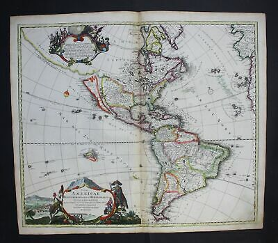 1720 America continent California island Amerika map Karte Homann first edition