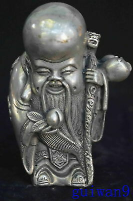Collectable Chinese Old Tibet Silver Flower Robe Big Head Buddha Royal Statue