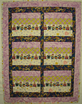 Baby Quilt Handmade Pieced Multi Coloured Bunnies HMJQuiltsPlus