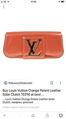 d6197771f2c8 LOUIS VUITTON large gold LV RED ORANGE patent leather SOBE clutch bag dust  bag