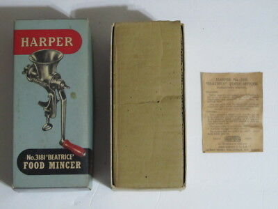 Vintage Harper No. 3181 Beatrice Food Mincer With Box **** Please Read ****
