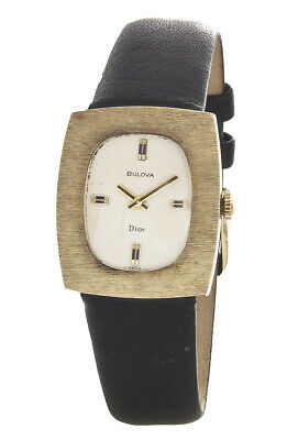 Bulova Dior White Dial 14k Gold Bezel Black Leather Band Watch 47436