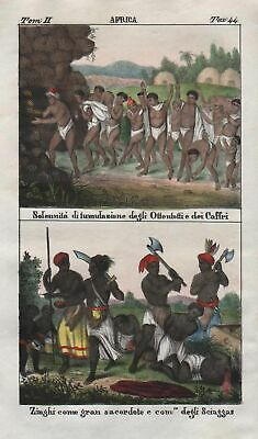 1840 - South Africa Khoikhoi people costume Lithograph Negro natives 67712