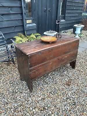 Early Oak And Elm Primitive Plank Coffer Chest For Restoration 17th Century