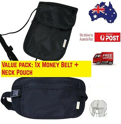 Unisex Money Belt Travel&Neck Pouch Secure Waist Ticket Card Passport Wallet AU