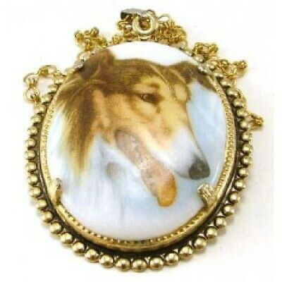 Collie Hand Painted Cameo Necklace