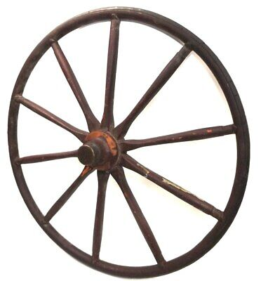 Primitive Antique Wooden Spoked Buggy Wheel with Wire Tied Tire