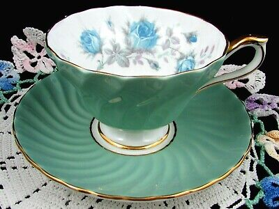 Aynsley Blue Roses Sage Green Swirled Tea Cup And Saucer