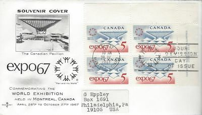 1967 #469 EXPO'67 UR PL BLK FDC with Rose Craft cachet