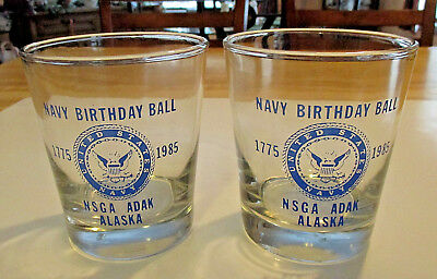 Set of two 210th Navy Birthday Ball 12 oz glasses NSGA Adak Alaska 1985 USN, EVC
