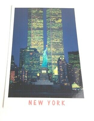 New York Postcard 2001 World Trade Center Twin Towers Statue of Liberty Pre 911