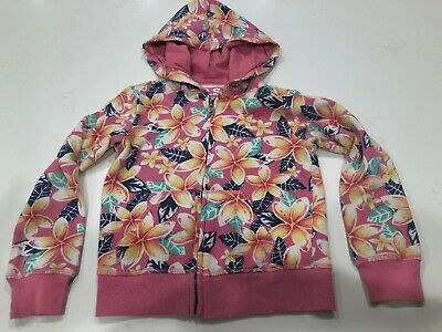 Girls Hooded Sweatshirt Hoodie Pink Hawaiian Tropical Floral P.S. Aeropostale 7
