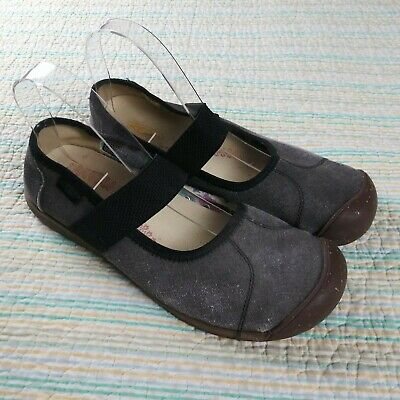 848686e99c84 Keen Wms Sz 10 Gray Grey Black Sienna MJ Mary Jane Canvas Flats Shoes