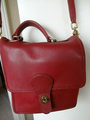 Vintage Coach Willis Station Red Leather Satchel Messenger Crossbody 5130 8730b42175ead