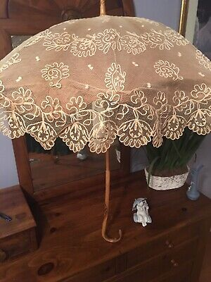 French ANTIQUE 1800's VICTORIAN Net Lace PARASOL Ornate Carved Wood Handle