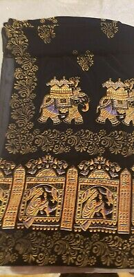 Pakistani/Indian Velvet Block Print Shawl / duppata, black,