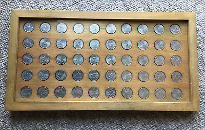 Complete set of State Quarters in Homemade Wooden Frame - 50 Total Coins!