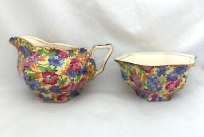 Vintage Royal Winton Grimwades ROYALTY Chintz CREAM & SUGAR Bridge Hector Shape