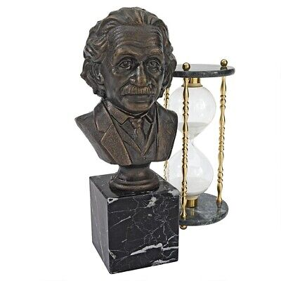 "13"" Noble Albert Einstein Cast Iron Statue Desktop Bust on Natural Marble Stand"