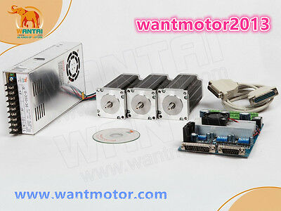 USA Free ship!Wantai 3Axis Stepper Motor Nema23 270oz-in 4-Lead+Driver Board CNC