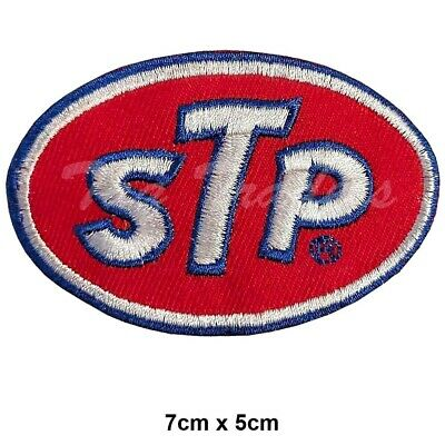 STP Motor Oil Race Sponsor Iron-On Embroidered Patch  applique