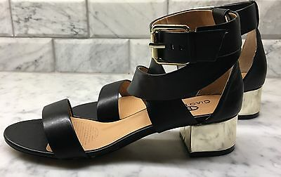 e25c35c58518f WOMENS CIAO BELLA Black Leather Ankle Strap Sandals Gold Heel Sz 8.5 ...