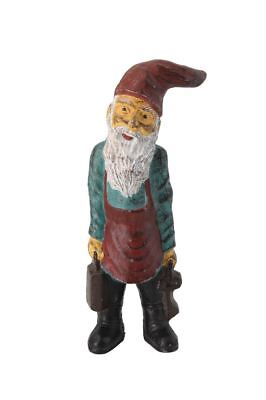 "Antique Reproduction Painted Cast Iron Garden Decor Santa Gnome Doorstop 9.5""H"