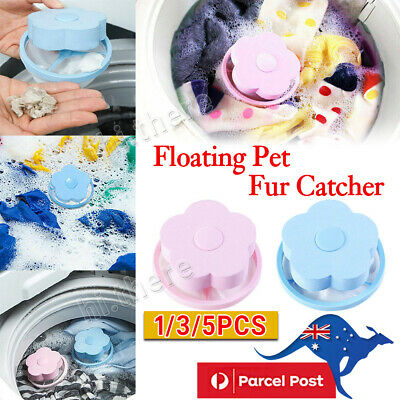 5PCS Floating Pet Fur Catcher Reusable Hair Remover Tool for Washing Machine Bag