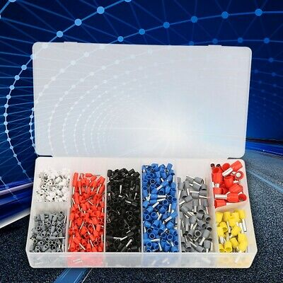1200Pcs Assorted Crimp Terminal Insulated Electrical Wire Connector Kit + Box hg