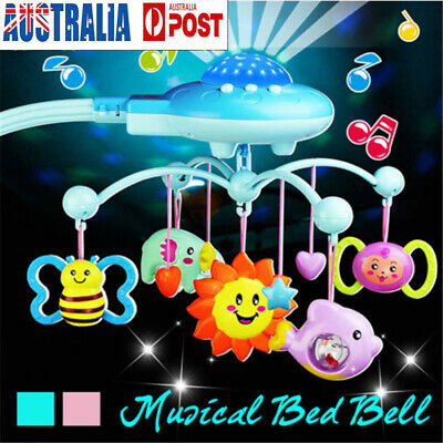 Newborn Baby Musical Crib Mobile Bed Bell Toys Hanging Rattles Stars Light Flash