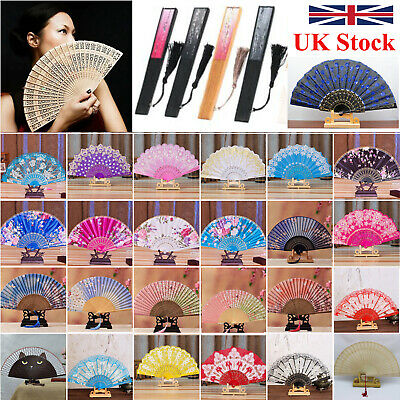 Chinese Lace Silk  Bamboo Folding Hand Held Dance Fan Party Wedding Flower Fans