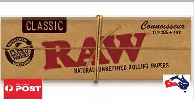 RAW Classic 1 1/4 Connoisseur Rolling Papers with Tips+ Free Gifts